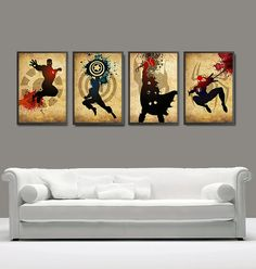 Vintage Superheroes Captain America, Ironman, Spiderman and Thor Poster for 40 Dollars - A3 Prints