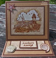 Katherine Lawson:  PSX K2777, Marshall Point Lighthouse; stamped on K&Co. patterned paper; colored with white and shades of brown using Ranger Inkssentials Craft Nibs; Just Rite sentiment