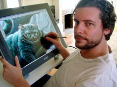 """Michael Kutsche drawing Cheshire Cat. """"Kutsche was one of three character designers the Disney's 'Alice;' the other two were Kei Acedera and Bobby Chiu, and Imageworks discovered them through galleries of their work in CGPortfolio. The Internet has become, for concept artists and character designers, the equivalent of the stool in Schwab's drugstore, where, according to Hollywood legend, Lana Turner spun from high school student to actor. And yet, not long after he turned 30, the self-taught…"""