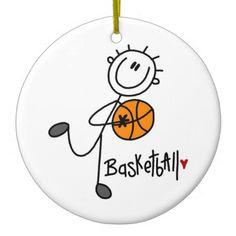 Basic Stick Figure Basketball T-shirts and Gifts Christmas Tree Ornaments