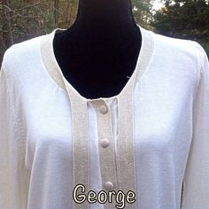 George Gold Sequin White Knit Sweater Cardigan #George #Cardigan #Work