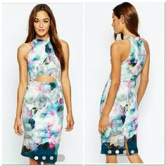 Beautiful Body-Con Dress Scuba Marble printed dress w/front cut-out. Great party dress. Beautiful print ASOS Dresses