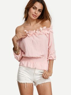 Shop Pink Off The Shoulder Applique Crop Top online. SheIn offers Pink Off The Shoulder Applique Crop Top & more to fit your fashionable needs.