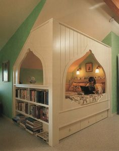 Cozy nook. I would love to build this for my mother-in-law. She stays with us once a week, she'd love this!