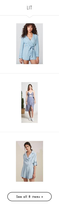 """LIT"" by florencia95 ❤ liked on Polyvore featuring jumpsuits, rompers, blue romper, playsuit romper, blue rompers, dresses, cutout dresses, mid calf dresses, midi day dresses and stripe dresses"
