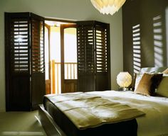 Contemporary Bedroom. Wooden Window Shutters, Bedroom Shutters, Indoor Shutters, Interior Shutters, Wooden Windows, Bedroom Windows, Contemporary Bedroom, Window Coverings, House Design