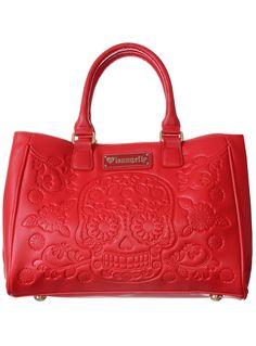 Crimson Filigree Skull Bag on Wanelo