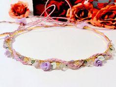 Porcelain Swarovski Stefana/Othodox Wedding by RaniaCreations, Wedding Headband, Wedding Crowns, Lilac, Purple, Crochet Necklace, Swarovski, Greek Wedding, Trending Outfits, Unique Jewelry