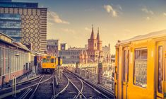 Berlin trains with Oberbaum Bridge at sunset, Berlin Friedrichshain-Kreuzberg, Germany Travel News, Travel Guides, Bahn Berlin, Vintage Instagram, U Bahn, Cheap Hotels, Germany Travel, Travel Inspiration, The Neighbourhood