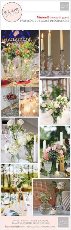 Pressed And Cut Glass Wedding Decorations #theweddingofmydreams