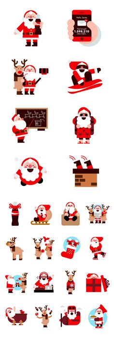 10Coca-Cola Xmas Stickers  Christmas set of stickers for Coca-Cola.They were used on Facebook and Twitter to answer to people's comments and wish them merry Xmas and a Happy New Year!
