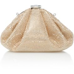 Judith Leiber Couture Enchanted Crystal-Embellished Satin Clutch ($3,495) ❤ liked on Polyvore featuring bags, handbags, clutches, gold, cocktail purse, evening hand bags, holiday handbags, judith leiber handbags and evening purses