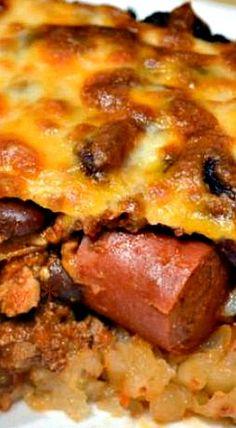 Chili Cheese Tater Tot Hot Dog Casserole