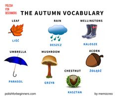 Polish vocabulary connected with the Autumn. Learn Polish, Polish Words, Polish Language, Gernal Knowledge, Teaching Activities, Vocabulary Words, Learning, Genealogy, English