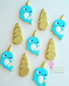 12 Narwhal and Unicorn Horn Sugar Cookies Any Color