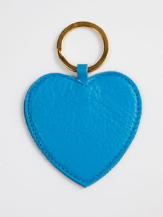 Leather Heart Shape Key Ring in Tahiti Blue by #AmericanApparel.  #heart #leather #accessories #keychain