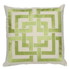 Shanghai Links Embroidered Pillow in Green