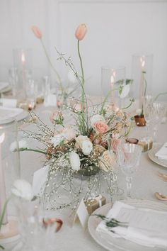 Intimate minimal pastel wedding at The Great Hall in Toronto - 100 Layer Cake Wedding Table Centerpieces, Flower Centerpieces, Wedding Decorations, Centerpiece Ideas, Wedding Flower Arrangements, Floral Arrangements, Table Arrangements, Floral Wedding, Wedding Flowers