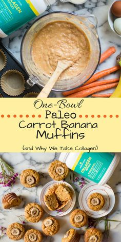 One-Bowl Paleo Carrot Banana Muffins (with collagen!) + Why We Take Collagen. Soft, perfectly sweet, and easy to make, One-Bowl Paleo Carrot Banana Muffins (with collagen!) are super simple to whip up and the perfectly delicious way to get veggies and collagen in at breakfast or as an afternoon snack. dairy-free, gluten free, grain-free