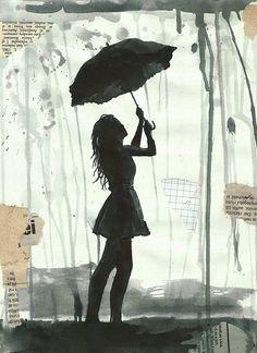 Drucken Sie Kunst Leinwand Geschenk Poster Freihandzeichnung Aquarell Mischtechnik Poster Collage Skizze Malerei Illustration Mädchen Regenschirm Autographed unterzeichnet