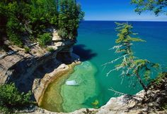 Need to go here someday. It is Pictured Rocks national park in Michigan.