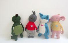 stuffed Critter Doll Beatle Monster OOAK doll Eco by bubyNoa