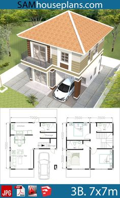 House Plans House Plans with 3 Bedrooms - Sam House Plans Sims House Plans, Duplex House Plans, Bedroom House Plans, Dream House Plans, Modern House Plans, Small House Plans, Dream Houses, Square House Plans, 2 Storey House Design