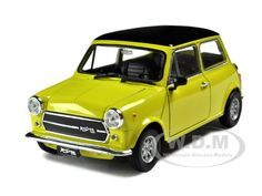 Old Mini Cooper 1300 Yellow diecast car model by Welly