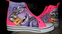 """evil"" Minion shoes hand painted shoes"