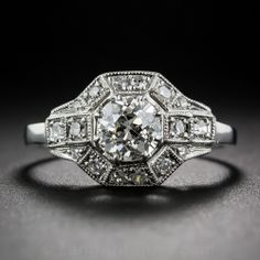 .82 Carat European-Cut Diamond Art Deco-Style Engagement Ring in Platinum - 10-1-6368 - Lang Antiques