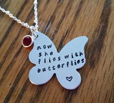 butterfly necklace butterfly memorial necklace child loss angel necklace loss of mom sister daughter grandma sympathy gift loved one lost by TiffysLove on Etsy