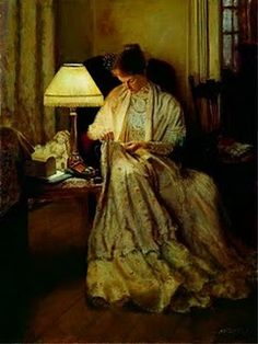 Peacefully knitting. Helen Allingham was an English watercolor painter of life in the 1800s.