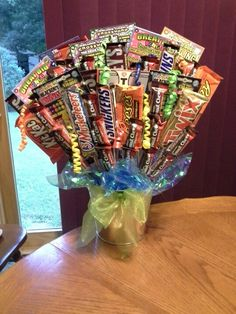 Lotto ticket and candybar birthday bouquet