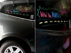 Love this idea of decorating the car windows with liquid window markers to celebrate a road trip