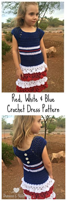 Red, White & Blue Dress Crochet Pattern – Breann's Stitchery
