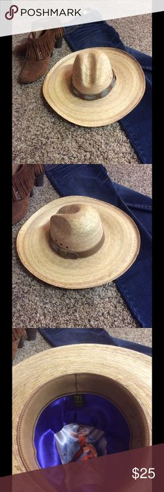 """""""Howdy partner""""  large western hat, almost new! Heavy duty western hat, leather headband with five conches. Made in Mexico, has a signature but can't make it out for sure. Measuring the brim side to side and front to back it's 17"""" x 18"""" and measuring inside it's 22 1/2.  The tag in it says 7 1/4 USA. The head has a lining in it, see picture #4, the hole was there when I purchased I never saw it.  Brim is 5"""" wide. Accessories Hats"""
