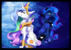 I love all the wolf forms better than the horse forms. This is Princess Celestia's and Princess Luna's wolf form.