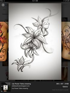 Want this tattoo as a side/hip piece! Add more tiger lilies and maybe some calla lilies! Favourite flowers!