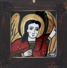 Icoana pe sticla Inger pazitor - Icoana pe sticla Inger pazitor,de Mihaela Bercea - icoane pictate pe sticla Libraria BizantinaPictura naiva pe sticla.