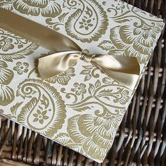 Items similar to Gold Wedding Guest Book, Anniversary Guest Book, Gold and Cream Paisley {MADE upon ORDER} on Etsy Anniversary Parties, 50th Anniversary, Gold Wedding, Elegant Wedding, Cream And Sugar, Queen, Wedding Guest Book, Paisley, Handmade Gifts