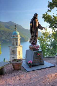 View above the Santa Maria del Sasso Campanile, Morcote, Ticino, Lake Lugano, Switzerland.