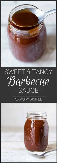 Ditch the bottled stuff and try this incredibly easy Sweet and Tangy Barbecue Sauce, ready after just 15 minutes of simmering! It tastes just like Open Pit BBQ Sauce, and is amazing served with chicken. #bbq #sauce #barbecue