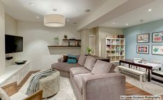 basement media rooms - love the soft colors here