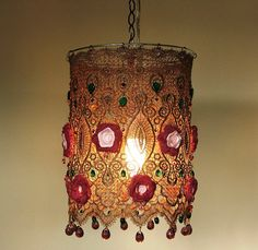 Dozens of Glass Beads, Leaves , Teardeops  and other Glass Bbeads  with  Knitted flowers hand Dyed Hanging Lamp
