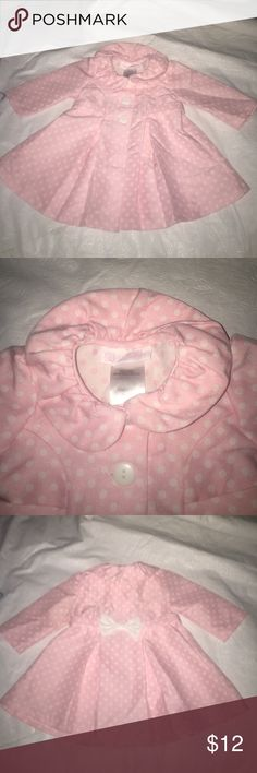 Pink and white polkadot Pea Coat Paint and white Infant Pea coat size 3 to 6 months button up Bonnie Baby Jackets & Coats Pea Coats
