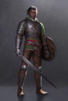 Men of Color In Fantasy Art — Elven skirmisher by Un Lee Fantasy Races, Fantasy Armor, Medieval Fantasy, Dark Fantasy, Inspiration Drawing, Fantasy Inspiration, Character Inspiration, Black Characters, Dnd Characters