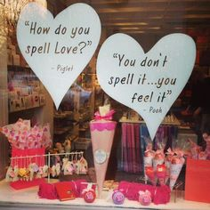 Window display about love for a great Valentines Day