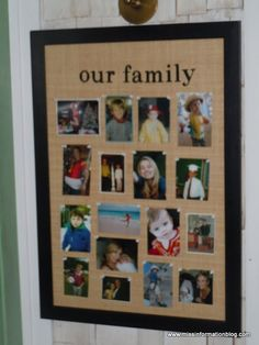 Love this board that is featured on the Good Luck Charlie Set. Super cute way to display family photos!