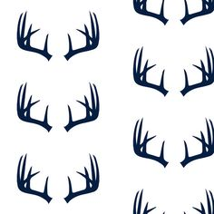 Antlers Fabric  Navy Antlers // Northern Lights By by Spoonflower
