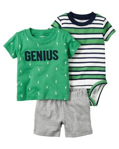 Baby Boy 3-Piece Bodysuit & Short Set | Carters.com